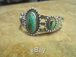 ATTRACTIVE Old Fred Harvey Era Navajo Sterling Silver Turquoise Cuff Bracelet