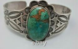 Antique Coin Silver Native American Turquoise Fred Harvey Wide Bracelet