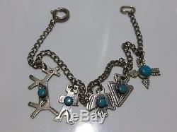 Antique Fred Harvey Era Turquoise Southwestern Sterling Silver Charm Bracelet
