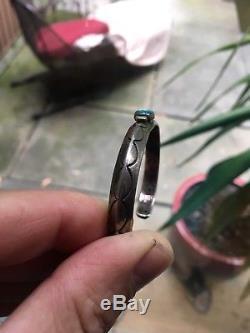 Antique Navajo Bracelet Fred Harvey Era Hand Carved 1910-20 Coin Silver Ingot