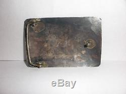 Antique Navajo Old Pawn Fred Harvey era sterling silver Eagle belt buckle inlay