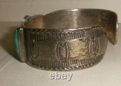 Antique Navajo old pawn Sterling Silver turquoise bracelet Fred Harvey era