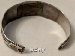 Antique Old Pawn Fred Harvey Era Silver & Green Turquoise Arrow Cuff Bracelet