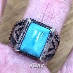 Arrows Fred Harvey Era Turquoise Mens Ring Sz 10 1960s Sterling Silver 8.5g Vtg