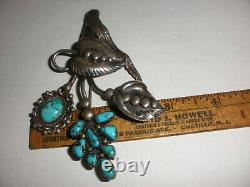 Arts & Crafts Navajo Old Pawn Fred Harvey Era Sterling Silver Turquoise Brooch