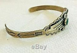 Authentic VINTAGE OLD PAWN, SILVER TURQUOISE NAVAJO Fred Harvey THUNDERBIRD CUFF