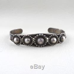 BELL Trading Post Bead Cuff Sterling Silver Fred Harvey Era Navajo Bracelet 16.9