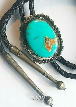 BIG Maisel's Sterling Silver Royston Turquoise Bolo Old Pawn Fred Harvey Navajo