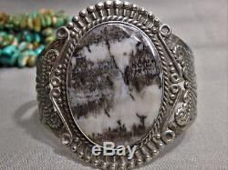 BIG Old NAVAJO Fred Harvey Era PETRIFIED WOOD Stamped STERLING Silver BRACELET