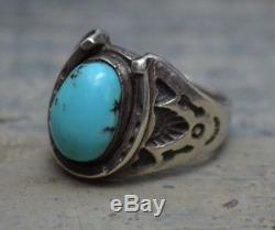 BIG VTG Old Pawn Fred Harvey Era Silver & Turquoise Mens Horseshoe Biker Ring 10