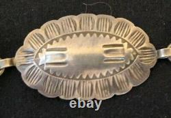 Beautiful Old Pawn Navajo Sterling Silver Stamped Concho Belt Fred Harvey Era