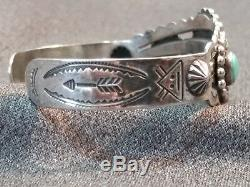 Bell Trading Post Sterling Silver Turquoise Fred Harvey Era Design Cuff Bracelet
