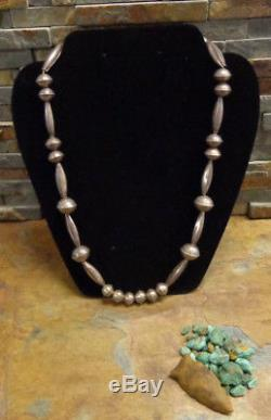 Best Navajo Silver Hand Made Bench Bead Necklace Native Old Pawn Fred Harvey Era