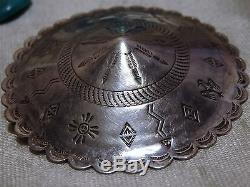 Big 2.3+ Fred Harvey Era HOPI Hand Stamped STERLING Silver PIN sold by Bell snd