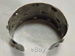 Big 2+ High Fred Harvey Era NAVAJO Repousse COIN Silver 90%Ag THUNDERBIRD CUFF