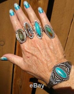 Big Fred Harvey Era Sterling Silver And Turquoise Cuff Bracelet 23.8 Grams