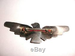 Big Vintage Navajo sterling silver Thunderbird turquoise brooch Fred Harvey era