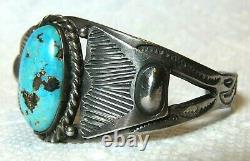 Bracelet Navajo Indian Fred Harvey Era Gem Pilot Mountain Turquoise Silver Cuff