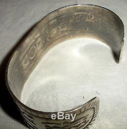 C1930 FRED HARVEY NAVAJO COIN SILVER CUFF BRACELET TURQUOISE ARROW STAMPS vafo