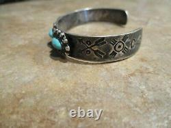 CHARMING OLD Fred Harvey Era Navajo Sterling Silver Turquoise CONCHO Bracelet