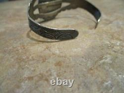 CHOICE OLD Fred Harvey Era Navajo Sterling Silver Petrified Wood AGATE Bracelet