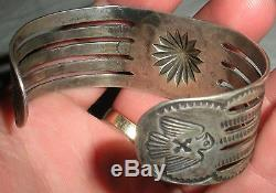 C. 1930 FRED HARVEY STAMPED SNAKE & THUNDERBIRD SILVER BRACELET NAVAJO vafo