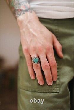 Chad Barela Silver / Turquoise Ring Size 8 Fred Harvey Southwestern