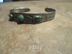 DYNAMITE Old Fred Harvey Era Navajo Sterling Silver CERRILLOS Turquoise Bracelet