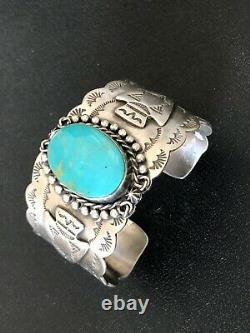 Dan Dodson Sterling Silver Turquoise Fred Harvey Era Sty Cuff Bracelet Arrowhead