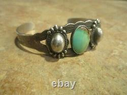 Delightful OLD Fred Harvey Era Navajo Sterling Silver Turquoise DOME Bracelet