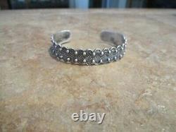 Distinctive Old Fred Harvey Era Navajo Sterling Silver Stamped Design Bracelet