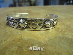 EARLY 1900's Fred Harvey Era NAVAJO 900 COIN SILVER ARROWS Cuff Bracelet