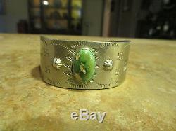 EARLY 1900's Fred Harvey NAVAJO Silver PREMIUM Turquoise WHIRLING LOG Bracelet
