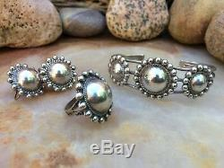 EARLY 40s FRED HARVEY NAVAJO OLD PAWN STERLING SILVER DOME BRACELET RING EARRING