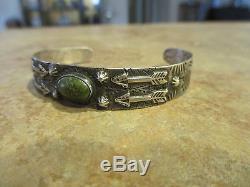 EARLY Fred Harvey Era Silver Navajo Premium Turquoise APPLIED ARROWS Bracelet
