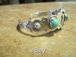 EARLY Fred Harvey Era Silver Turquoise Applied THUNDERBIRD WHIRLING LOG Bracelet