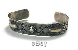 EARLY Vtg FRED HARVEY Era Ingot/Coin Silver NAVAJO Bracelet cuff ARROWS antique