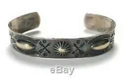 EARLY Vtg FRED HARVEY Era Ingot/Coin Silver NAVAJO Bracelet cuff ARROWS antique
