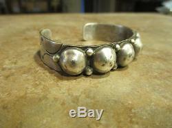 ESTATE Extra OLD Fred Harvey Era Navajo Silver DOME Row Bracelet