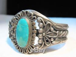 ESTATE Huge Heavy Fred Harvey Era Sterling Silver Turquoise Cuff Bracelet K554