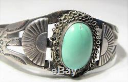 ESTATE Vintage Fred Harvey Era Navajo Sterling Silver Turquoise Bracelet K776