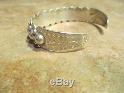 EXTRA OLD Fred Harvey Era BELL Navajo Sterling Silver DOME Row Bracelet