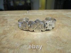 EXTRA OLD Fred Harvey Era Navajo Sterling Silver Applied THUNDERBIRD Bracelet