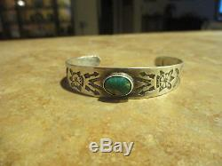 EXTRA OLD Fred Harvey Era Navajo Sterling Silver CERRILLOS Turquoise Bracelet