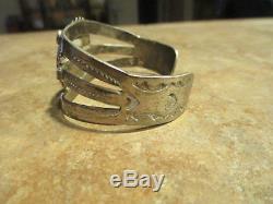 EXTRA OLD Fred Harvey Era Navajo Sterling Silver Petrified Wood Agate Bracelet