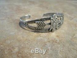 EXTRA OLD Fred Harvey Era Navajo Sterling Silver THUNDERBIRD ARROW Bracelet