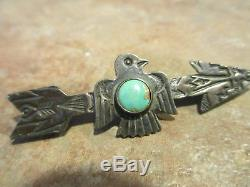 EXTRA OLD Fred Harvey Era Navajo Sterling Silver Turquoise THUNDERBIRD ARROW Pin