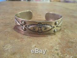 EXTRA OLD Men's Size Fred Harvey Era Silver WHIRLING LOG Design Cuff Bracelet