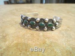 Early 1900's Fred Harvey Era Navajo 900 Coin Silver CERRILLOS Turquoise Bracelet