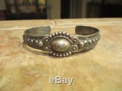 Early 1900's Fred Harvey Era Navajo Silver Button Dome Row Bracelet
